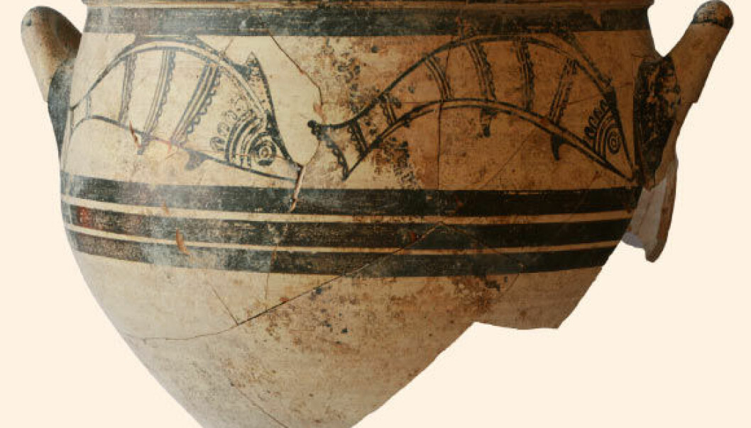 En krukke med mykenske fiskemotiver fra ca. år 1300.  (Foto: Peter Fischer)