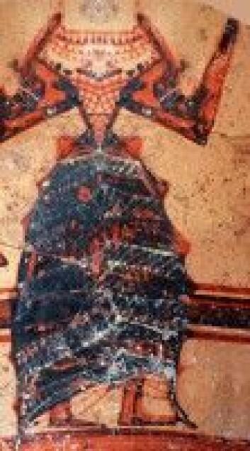 En mykensk (gresk) kvinnedrakt utenpå en vase. Motivet forteller oss hvor avansert rike kvinner kunne kle seg for nesten 3500 år siden. Bildet er ikke ulikt motiver i palasset i Knossos på Kreta. (Foto: Peter Fischer/forskning.se)