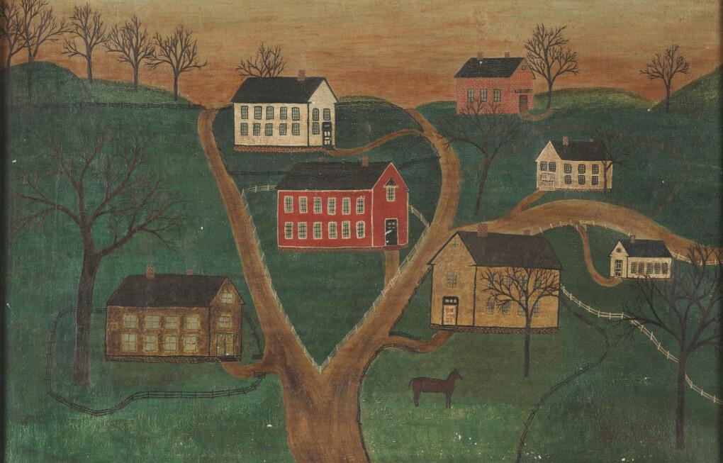 Dette bildet ble hevdet å være en original fra 1866, malt i såkalt naiv stil. Bildet er egentlig fra 1980-tallet, og malt av en forfalsker. (Bilde: James Hamm (Buffalo State College, The State University of New York, Buffalo, NY).