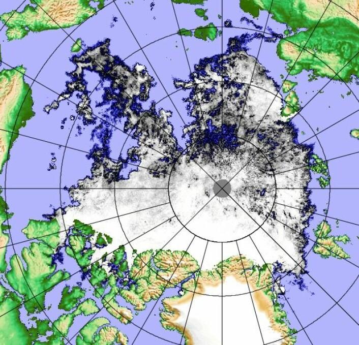 Iskartet i Arktis 24 august, basert på observasjoner fra det japanske satellittinstrumentet AMSR2. (Bilde: Univ Bremen)