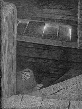 Theodor Kittelsens ikoniske tegning av Pesta på vei opp trappa. (Illustrasjon: Theodor Kittelsen, Wikimedia Commons)