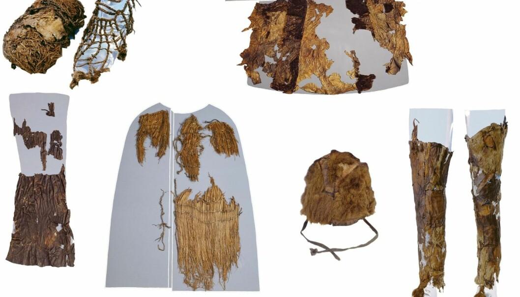 De 5300 år gamle klærne er så skjøre at det må en DNA-analyse til for å finne ut hva slags skinn de er laget av. Øverst fra venstre er en sko med gress i, skinnjakka (geit og sau), et lendeklede i skinn (sau), en kappe av gress, pelslua (bjørn) og leggvarmere i skinn (geit). Gjenstandene er utstilt i det arkeologiske museet i Bolzano, Italia. (Foto: Institute for Mummies and the Iceman)