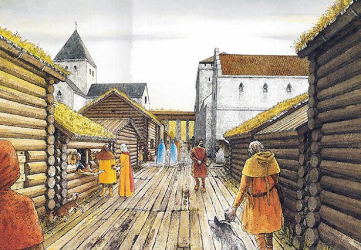 Tolking av Oslo omkring år 1300. Vi står ved skomakarbuene som vart gravne ut på feltet Oslogate 6 i 1987-89 og ser sørover mot drombegangen mellom Hallvardskirken og Bispegården. (Foto: Illustrasjon: K.-F. Keller, Middelalderbyen Oslo, Schia og Keller 1994.)