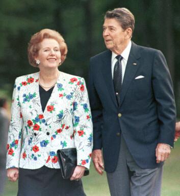 – Det er umulig å forstå vår egen tid uten å ta hensyn til de nyliberale teoriene som Margaret Thatcher og Ronald Reagan frontet, sier statsviter Torbjørn L. Knutsen. (Foto: Gary Hershorn, Reuters, NTB scanpix)