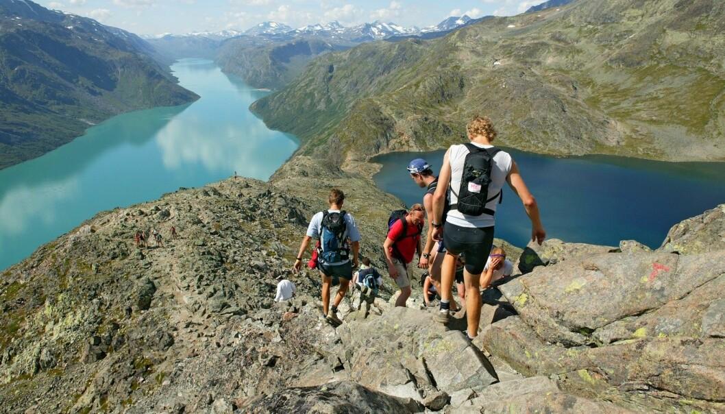 Åtte milliarder mennesker besøker årlig verdens verneområder. Bildet viser populære Besseggen i Jotunheimen nasjonalpark. Foto: Morten Helgesen.