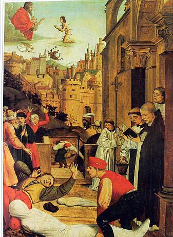 Et maleri fra slutten av 1400-tallet som framstiller en scene fra Den justitianske pesten. (Bilde: Josse Lieferinxe)