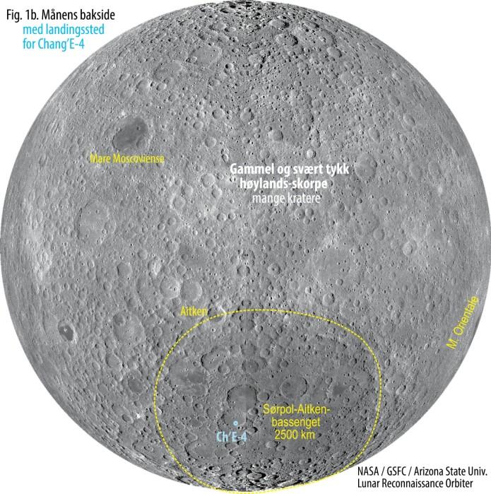 Figur 1b. Månens bakside med landingsstedet for det kinesiske fartøyet Chang'E-4. Klikk for forstørret utgave. (Figur: NASA / GSFC/ Arizona State Univ. Lunar Reconnaisance Orbiter)