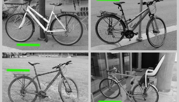 Ved hjelp av disse bildene skal du lære ordet «sykkel» på et fremmed språk. Men hva om du tror ordet betyr «grønn strek»? (Foto: Eivind Torgersen/UiO)