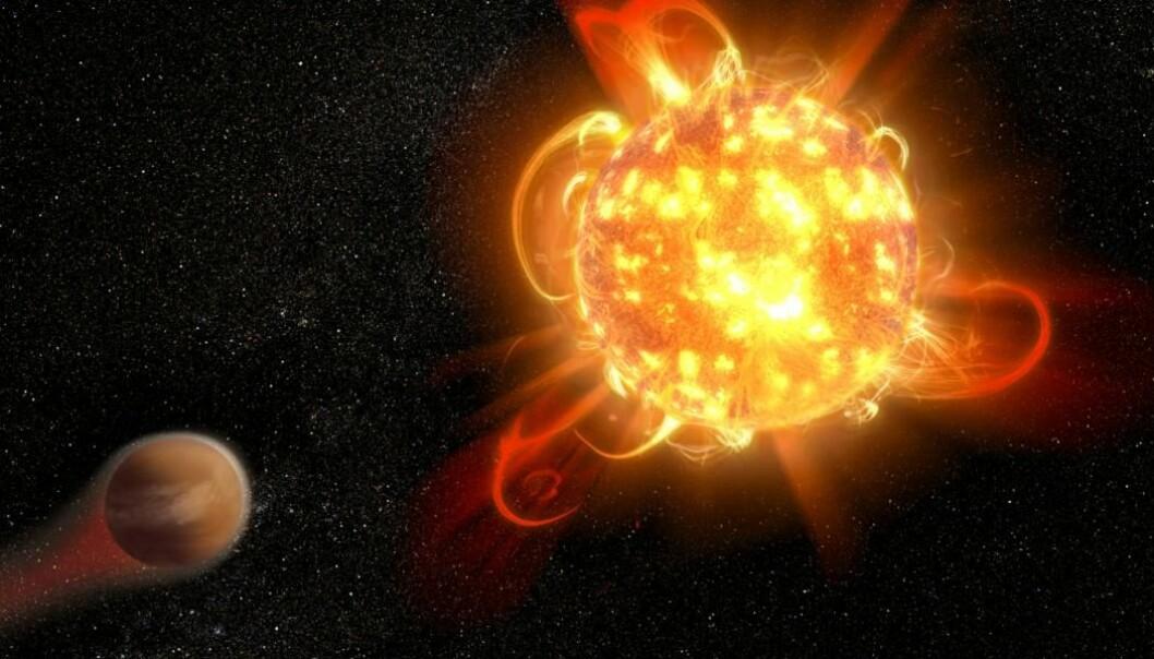 Slik kunne kanskje et superflare på i et fremmed solsystem se ut. (Illustrasjon: NASA, ESA and D. Player)