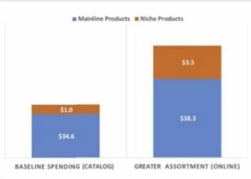Så mye mer kjøpte nettkunder av de smalere produktene. (Foto: (Grafikk: Journal of Retail))