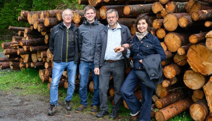 Noen av forfatterne bak NIBIO-rapporten om treimport er Halvor Solheim, Johannes Rahlf, Bjørn Økland og Isabella Børja. (Foto: Erling Fløistad).