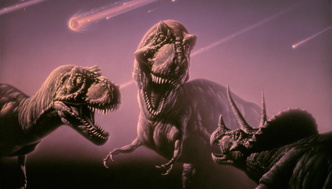 Mest sannsynlig var en 15 kilometer stor asteroide årsaken til dinosaurenes undergang. Dette er forskere stort sett enige om i dag. Nå vet japanske forskere hvordan det foregikk.  (Bilde: Science Photo Library, NTB scanpix)