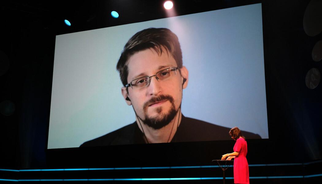 Edward Snowden på videolink fra Russland. (Foto: Ingrid Schou)