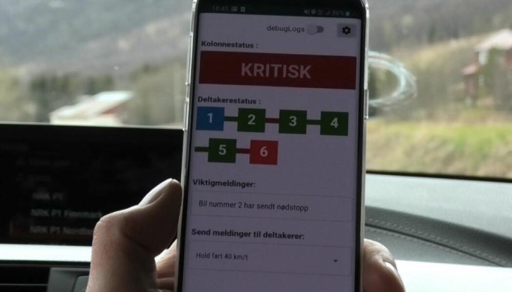 """Appen """"Kolonnekjøring"""" gir kolonneleder oversikt over alle deltakerne. (Foto: Marius Skjerve Staulen)"""