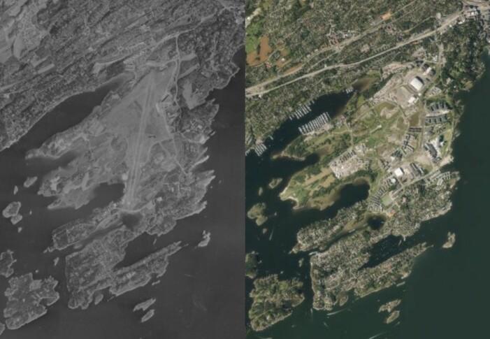 Flybilder som viser Fornebu og Snarøya i 1956 og i 2016. Kilde: Norge i bilder.