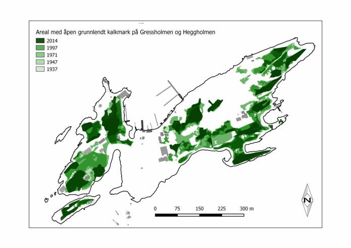 Endring i arealet av åpen, grunnlendt kalkmark på Gressholmen og Heggholmen i løpet av snaue 80 år.