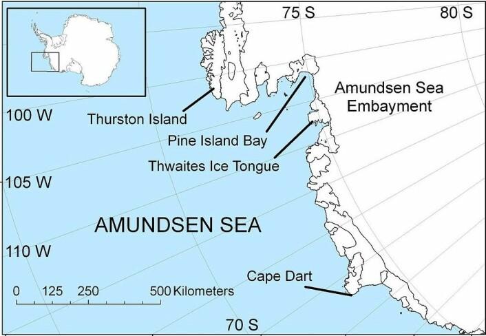 Amundsenhavet er et randhav til Sørishavet som ligger utenfor kystlinjen av Marie Byrd Land på det antarktiske kontinent. Amundsenhavet strekker seg fra Thurston Island i øst til Siple Island i vest og grenser til Bellingshausenhavet og Rosshavet. (Foto: (Illustrasjon: Polargeo, Wikimedia Commons))