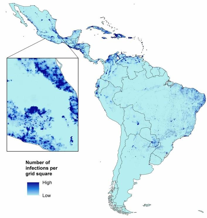 Dette kartet viser beregnede, fremtidige antall av zikavirus-infeksjoner hos gravide kvinner i Sør-Amerika. (Foto: (Grafikk: University of Southampton))