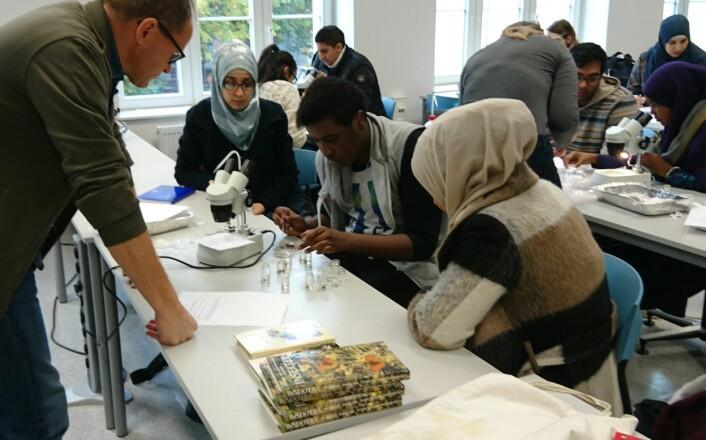 Elevene ved Hersleb videregående skole i arbeid med å sortere insektmaterialet. (Foto: Gunhild Marthinsen, NHM)