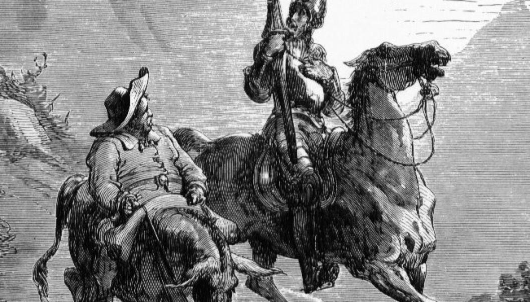 Don Quijote og Sancho Panza, hovedpersonene i de Cervantes roman fra 1600-tallet. Don Quijote regnes som en av de aller første moderne romanene. Det er uvisst om en lesning av Don Quijote kan gi noen spesielle fordeler. (Bilde: Gustave Doré/1863)