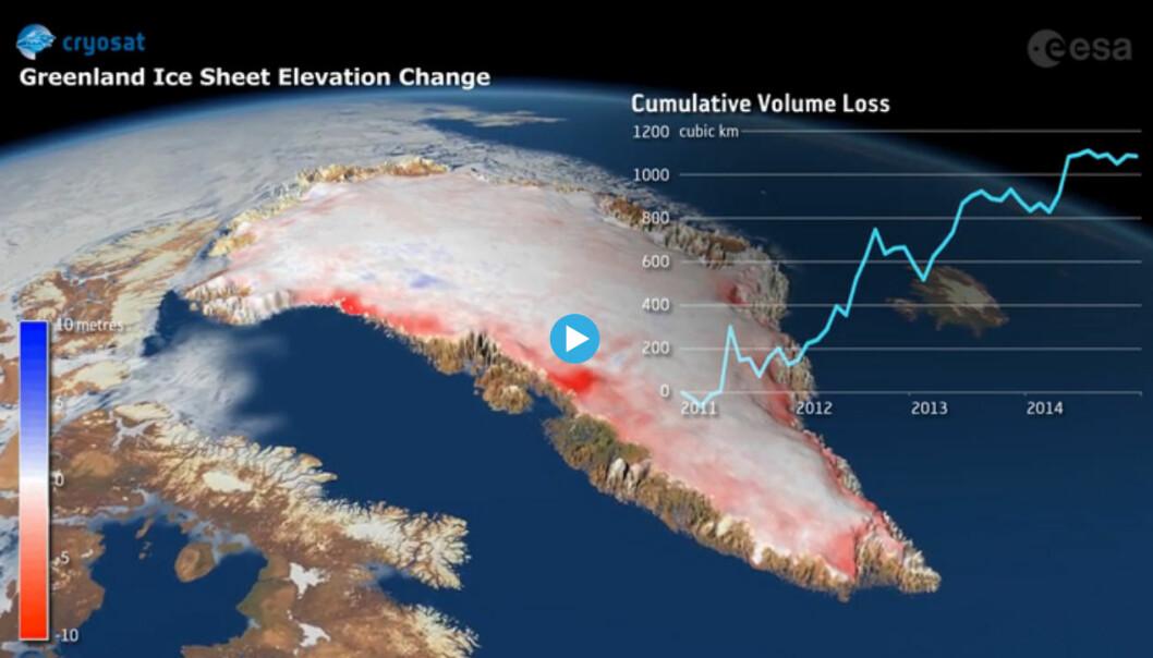 Isen på Grønland endrer seg raskt