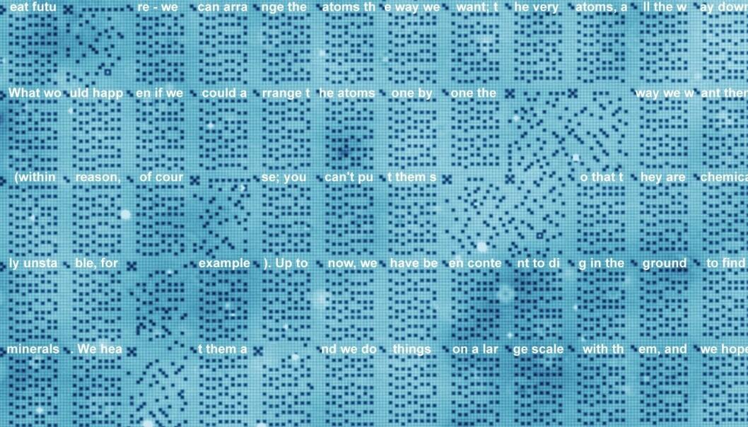 Dette er en mikroskopskanning av atom-harddisken. Prikkene representerer atomer, og posisjonen bestemmer om de representerer 1 eller 0. Se hele bildet i bunn av saken. Ordene er lagt på for å vise hva koden representerer. (Bilde: TU Delft)