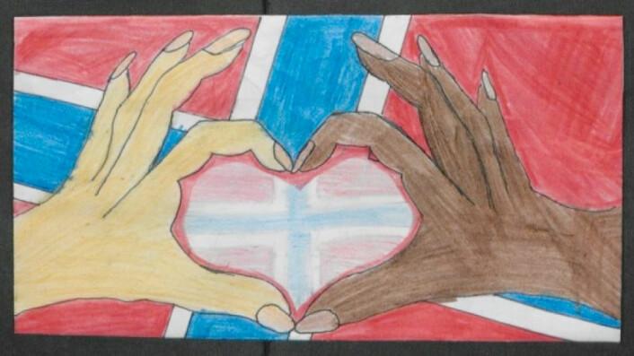 Kjærlighet, samhold og mangfold går igjen i både tegninger og tekst etter terroren. (Foto: (Illustrasjon: Riksarkivet))