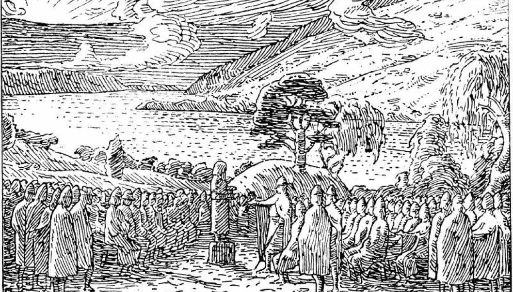 Heimskringla-tegning av Kong Olav som taler på tinget. Det fantes både lokale og regionale ting, og det var her mange fornærmelser, forbrytelser og uenigheter ble diskutert og gjort opp. (Bilde: Halfdan Egedius)