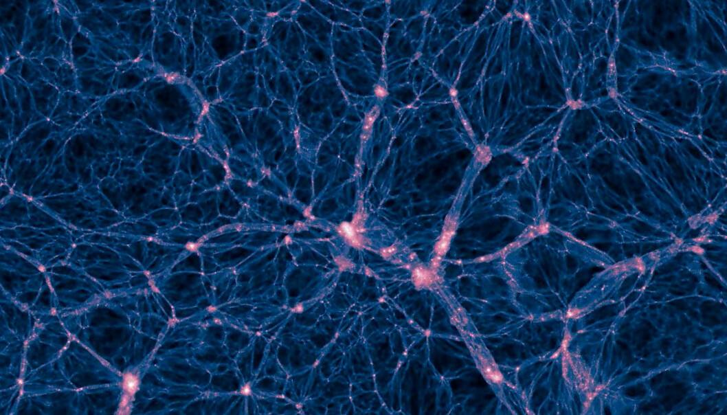 Simulering av mørk materie i universet. Galaksene dannes i de rosa områdene. Uten mørk materie ville ikke universet hatt noen strukturer som galakser. (Illustrasjon: Illustris-prosjektet)