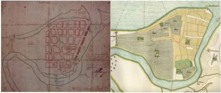 Til venstre Cicignons kart fra 1681. til høyre: Nauclers kart fra 1658 som viser byen før bybrannen. Området hvor Torvet ligger idag er angitt med rød firkant. Foto: Trondheim byarkiv/gunnerus biblioteket, Oluf Naucler og Cicignon