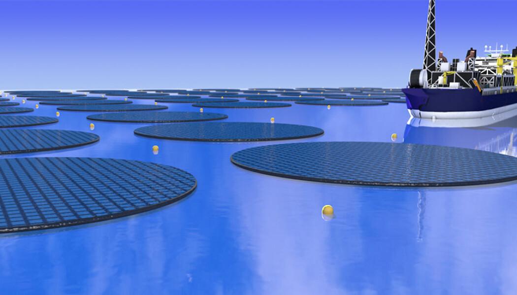 – Prosessen vi foreslår går ut på å gjenbruke CO2. Bruk av metanol som drivstoff medfører utslipp av CO2 til atmosfæren, men CO2-en fanges inn fra sjøvann for ny syntese av metanol, forteller professor Frode Mo ved institutt for fysikk ved NTNU. (Illustrasjon: Kasper Pindsle, pinkas.no).