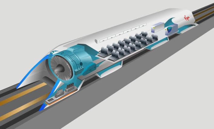Hyperloop fungerer som en slags rørpost. Inne i røret, som er tatt vekk på dette bildet, er det tilnærmet lufttomt. Derfor kan et prosjektil med plass til passasjerer bevege seg med lav motstand i langt over lydens hastighet. (Foto: (Ideskisse: Camilo Sanchez, CC Bt-SA 4.0))