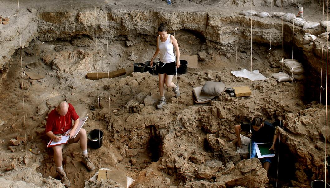 I 2008 avdekket forskerne en rikt utstyrt grav i en hule i Israel. Det har tatt flere år å skjønne sammenhengene. Steinaldermenneskene fylte systematisk graven med gjenstander, lag på lag. (Foto: Naftali Hilger)