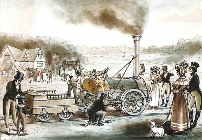 Lokomotivet Northumbrian fra 1830 trafikkerte den samme strekningen mellom Liverpool og Manchester som det mer legendariske lokomotivet The Rocket. Begge var konstruert av Robert Stephenson. (Foto: (Litografi: U.K. National Railway Museum))