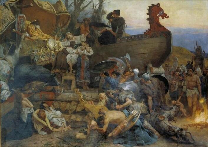 Den polske maleren Henryk Siemiradzki har malt begravelsesritualet til østadfarende vikinger, etter beskrivelsene fra Ibn Fadlan. (Foto: Wikimedia Creative Commons)
