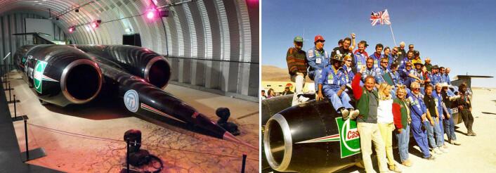 Jetbilen ThrustSSC var den første som brøt lydmuren, i 1997. Til venstre er den utstilt på Conventry Transport Museum. Til høyre er gruppen bak bilen fotografert etter rekorden på muddersletta Black Rock Desert i Nevada. (Foto: Til venstre: Cmglee, CCBY-SA 3.0. Til høyre: Andrew Graves)