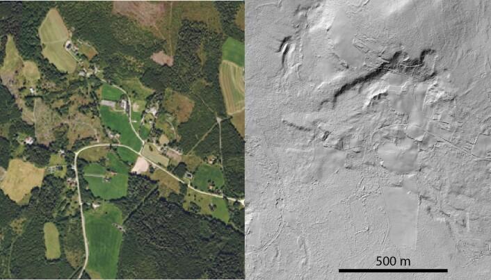 Til venstre er et flyfoto av bygda Tåsen i Hedmark. Vi ser veier og hus, grønne åkrer og mørkegrønne skoger. Bildet til høyre viser nøyaktig det samme området i skyggerelieff ved bruk av LiDAR-data. På dette bildet kommer det fram ei svær skredgrop med bak-kanter som er opptil 20 meter høye. Bebyggelsen er i dag inne i rasgropa. (Kilde for bildene: Kartverket)