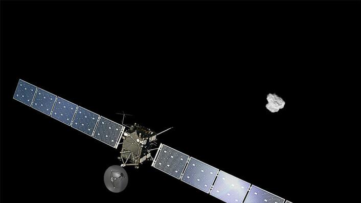 Den europeiske kometsonden Rosetta nærmer seg kometen 67P i august 2014. (Ikke i rett skala) (Foto: ESA/ATG medialab/Rosetta/NavCam)