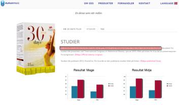 """Slik bruker Immitec """"vitenskapelig bevis"""" for å markedsføre slankeproduktet 30 Days. (Foto: (Faksimile fra Immitec.com))"""