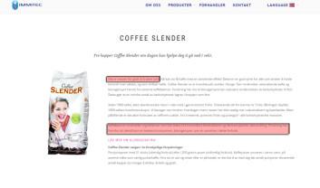 Klorogensyren i Coffee Slender kan gjøre deg slankere, hvis du tror Immitec. Men Europakommisjonen for matsikkerhet er uenig. (Foto: (Faksimile fra Immitec.com))