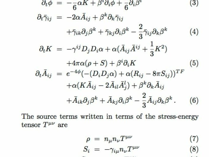 """Likningene blir fort litt grisete når man skal gjøre generell relativitetsteori. Ikke rart at også datamaskinene har hatt problemer. (Fra Mertens Giblin & Starkman: """"Integration of inhomogeneous cosmological spacetimes in the BSSN formalism"""", Phys Rev D, 2016)"""