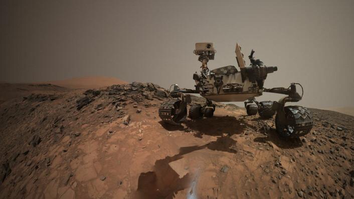 """Dette selvportrettet av Curiosity viser stedet der den boret ned i en stein kalt """"Buckskin"""". Lyst pulver fra boringen sees i forgrunnen. Denne boringen inneholdt det uventede mineralet tridymitt. (Foto: NASA/JPL-Caltech/MSSS)"""