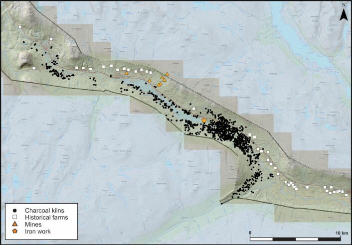 Kartet viser alle kullmilene som er funnet i Lesja. (Foto: (Bilde: Lars Pilø/Oppland fylkeskommune))