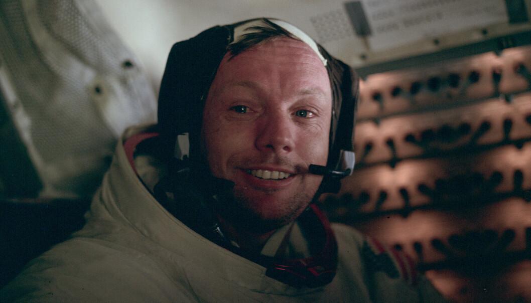 Armstrong etter vellykket utflukt på måneoverflaten. (Foto: NASA)