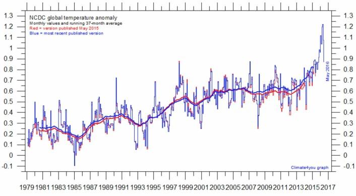 Global temperatur ved overflaten, i følge NOAA. El Ninjo-toppen er passert, mens den tykke kurven (tre års løpende middelverdi) fortsatt er på vei oppover. (Data: NOAA NCDC. Grafikk: Climate4you)