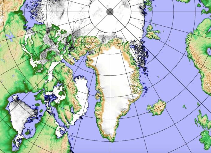 Midtsommer i Arktis. Og sjøisen er - som alltid på denne årstiden - på vikende front. (Bilde: Univ Bremen basert på japanske AMSR2)