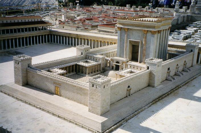Sånn kan Tempelet i Jerusalem ha sett ut før romerne rev det ned i 70 e.Kr. I dag står Klippemoskeen på dette stedet, som kalles Tempelhøyden. Stedet er ekstremt viktig for både jødedommen, islam og kristendom. (Foto: Juan R. Cuadra)