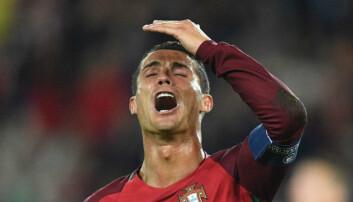 Portugals store stjerne Cristiano Ronaldo rett etter å ha bommet på straffe i EM-kampen mot Østerrike.  (Foto: Martin Bureau/AFP Photo/NTB Scanpix)