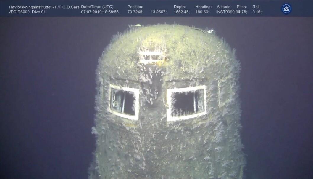 Havforskningsinstituttet har brukt en ROV for å finne ut om det er radioaktiv lekkasje fra vraket av den russiske atomubåten Komsomolets i Barentshavet. (Foto: Havforskningsinstituttet, Ægir 6000, NTB scanpix)