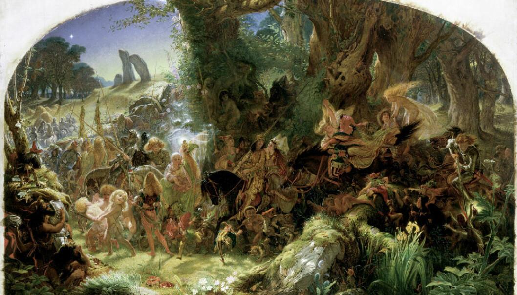 Maleriet «The Fairy Raid: Carrying Off a Changeling, Midsummer Eve» av Joseph Noel Paton, forteller historien om sankthansaften, da alvene kom for å stjele med seg menneskebarn. (Foto: Glasgow Museums.)